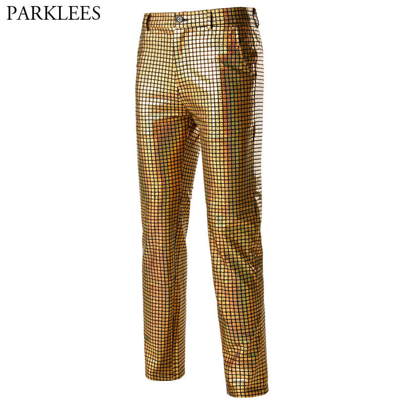 Shiny Gold Metallic Plaid Pants Men Nightclub Dancer Singer Punk Rockpants Mens Festival Christmas Party Stage Trousers Male 3XL