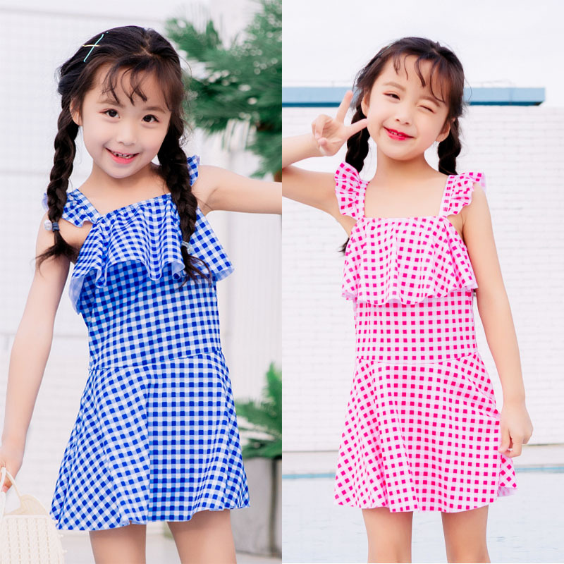 KID'S Swimwear Women's One-piece Children Korean-style Students 5-10-Year-Old 2019 Hot Selling Grid GIRL'S Parent And Child Swim