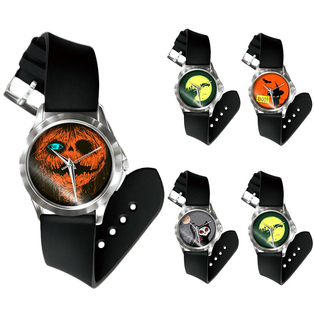 Halloween Unisex Pumpkin Bat Cat Pattern No Number Analog Quartz Wrist Watch Festival Watch