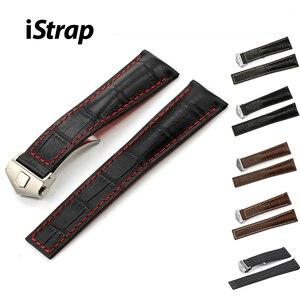 Ремешок для часов iStrap из кожи крокодила, 22 мм, серебристый металлический ремешок с пряжкой, для мужчин и женщин, ремешок для часов TAG Hueur
