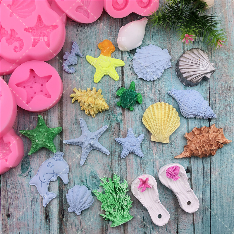 DIY Lovely Shell Starfish Conch Silicone Chocolate Mold Fish Mermaid Tail Fondant Cake Decorating Tools Clay Resin Art Moulds 2
