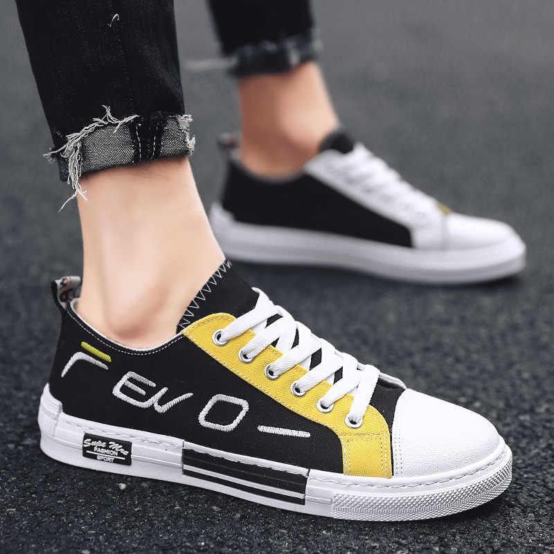 2019 г., летние новые стильные мужские низкие парусиновые туфли мужские трендовые Повседневные Классические студенческие скейты в Корейском стиле