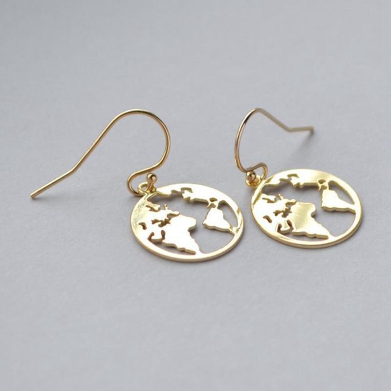 Серьги-гвоздики в Корейском стиле для пар, простые золотистые милые украшения с картой мира для женщин, оптовая продажа
