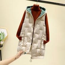 Pocket Zipper Hooded Outerwear Female Down Cotton Vest Thick Warm Winter Sleeveless Jacket Women Long Vest Waistcoat Veste Femme
