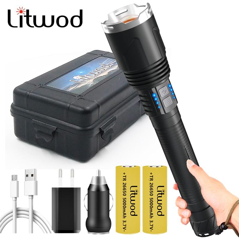 10-core XHP110.2 le plus lumineux lampe de poche Led batterie externe fonction torche Usb Rechargeable 18650 26650 batterie Zoom lanterne