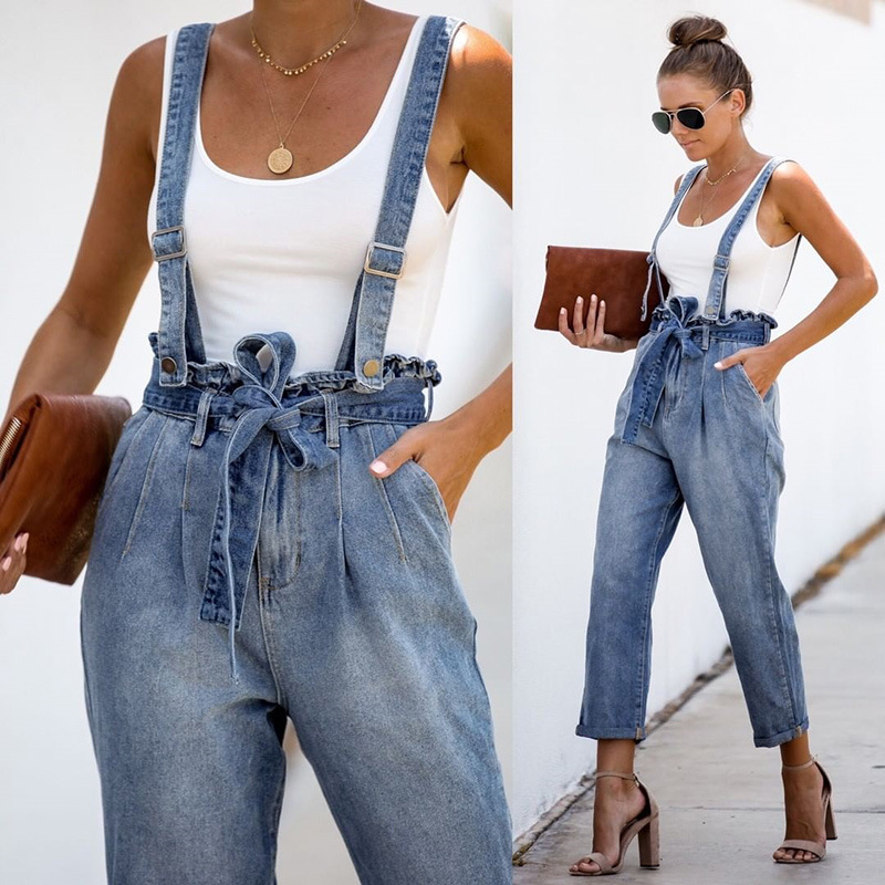 Suspender Jumpsuit Spaghetti Strap Romper Jeans Denim Pants Ruffles Tie Metal Buckle Overalls Bandage High Waist Trousers