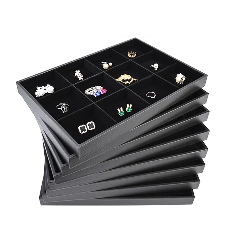 Jewelry Carrying Cases Black Velvet And PU Leather Jewelry Display Tray For Necklaces Bracelets Rings Earrings Pendants Storage