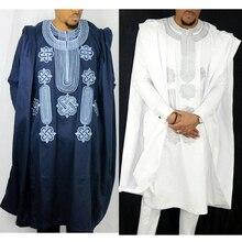 Африка для мужчин Дашики Базен riche костюмы Топы Рубашка Брюки 3 шт. набор вышивка темно синий черный белый Африканский мужская одежда халат