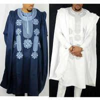 Afrika männer dashiki bazin riche anzüge tops hemd hose 3 stück set stickerei navy blau schwarz weiß afrikanische kleidung der männer robe