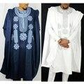Afrika männer dashiki bazin riche anzüge tops hemd hose 3 stück set stickerei navy blau schwarz weiß afrikanische kleidung der männer robe-in Afrika-Kleidung aus Neuheiten und Spezialanwendung bei