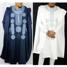 H & D traje africano para hombre, conjunto de camisa y pantalones, Tops de manga larga, ropa Agbada bordada, túnicas tradicionales para hombre Boubou Africain