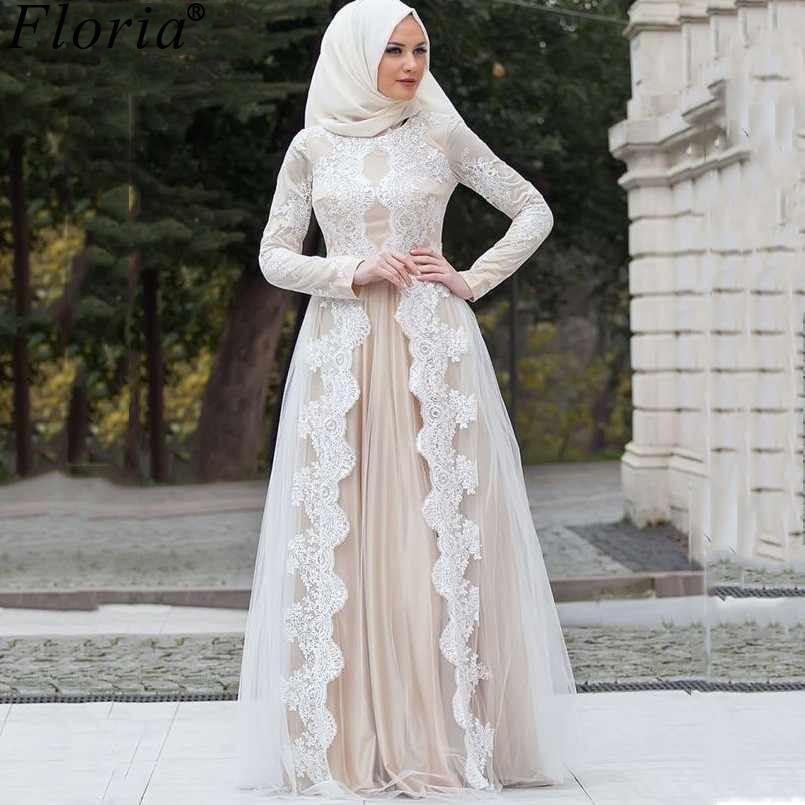 Muslim Plus Size Lace Prom Dresses Formal Long Sleeves Evening Dresses Woman Party Night Arabic Robe De Soiree Abiye Elbise
