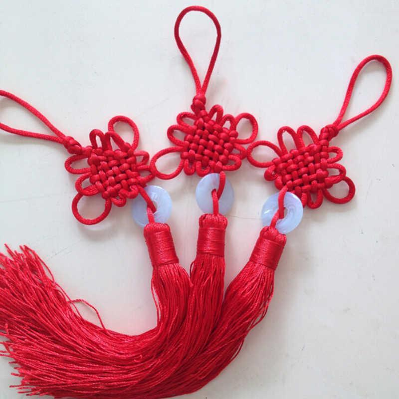 新年中国レッドタッセルフリンジ中国芸術品や工芸品プラスチックヒスイタッセル装飾ペンダントギフト現在の家の装飾