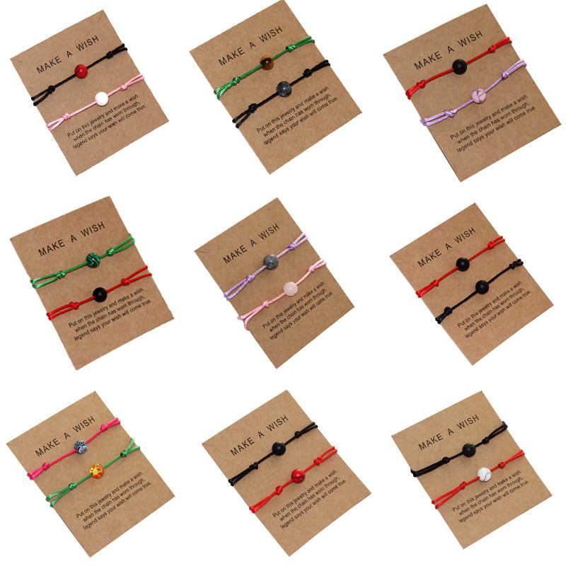 2019 Nuovo Semplice Rosso Corda Intrecciata Braccialetto Uomini Donne Desideri Bracciale Braccialetto di Pietra Naturale Buoni Amici Paio di Regali Accessorio