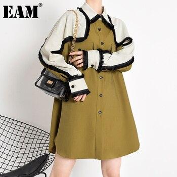 [EAM] Women Khaki Tassels Long Big Size Blouse New Lapel Long Sleeve Loose Fit Shirt Fashion Tide Spring Autumn 2020 1Z37404