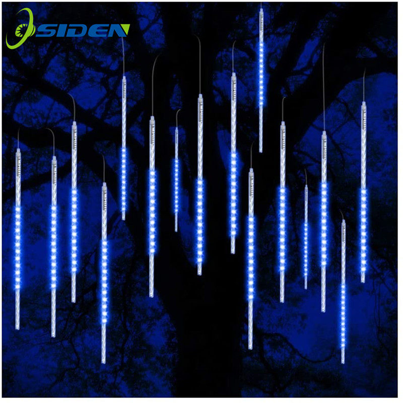 Meteor shower rain light flashing romantic light suitable for parties weddingsChristmas11 8 inches  8tubes blue white rgb