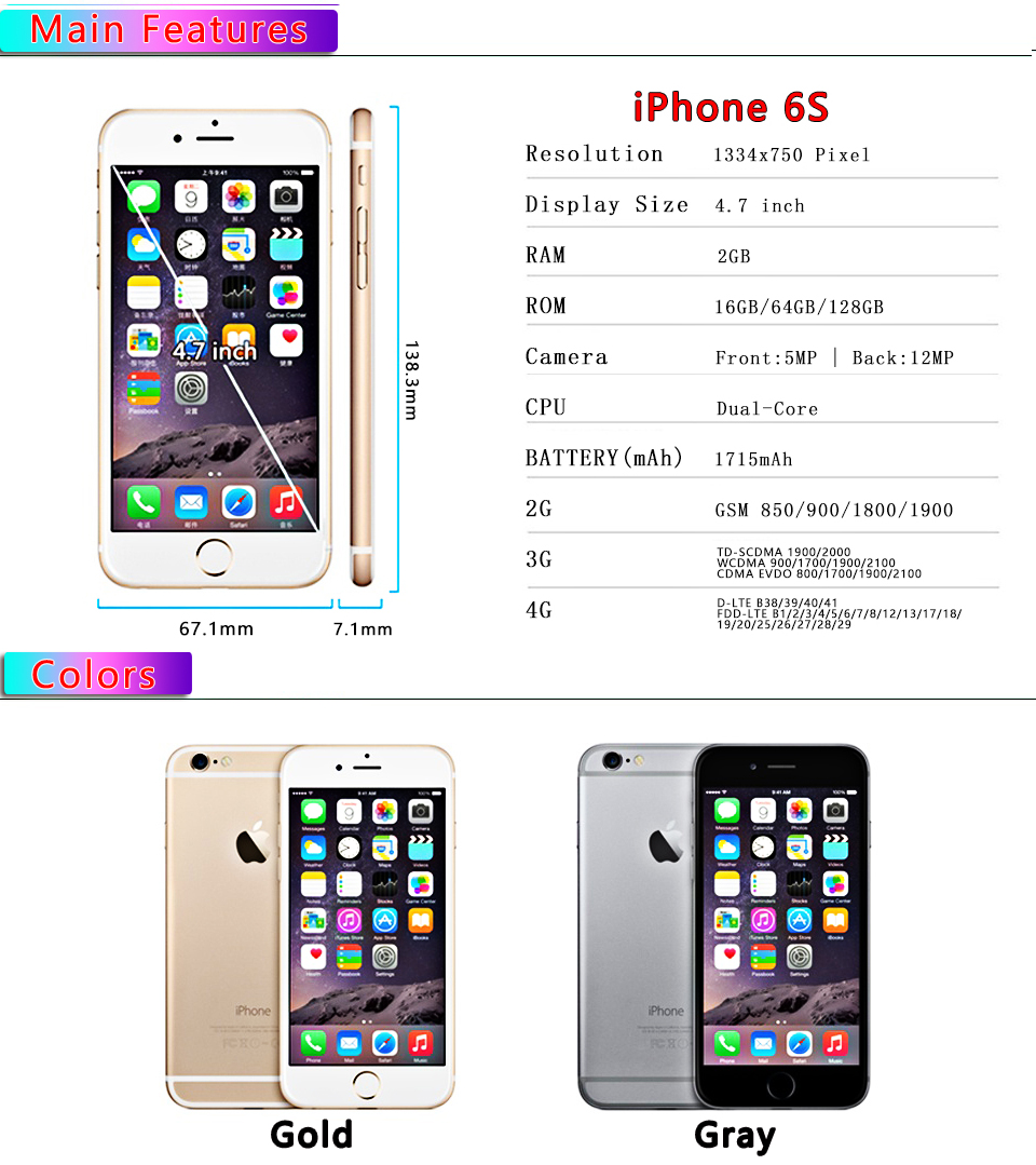 Refurbished Blackview Apple IPhone 6 S With RAM 2 GB 16 GB ROM 64 GB And 12 MP Camera 1