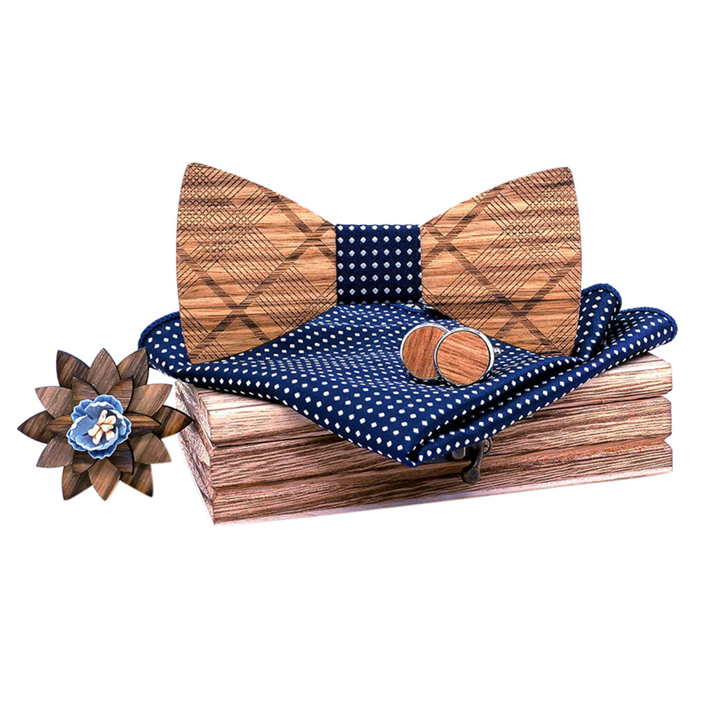 Womail 2019 New Style Wooden Bow Tie Handkerchief Set Unique Design Fashion Men's Bow Tie Wooden Handkerchief Set Men's Bowtie