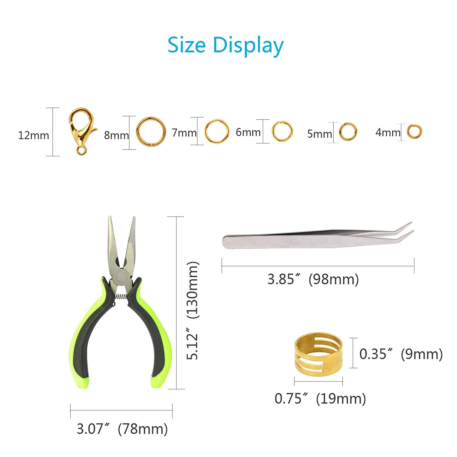 METABLE Jump Ring Kit 2313pcs Open Jump Necklace Rings with Lobster Clasp for Jewelry Making Beginner Hand Craft DIY Necklace in DIY Craft Storage from Home Garden