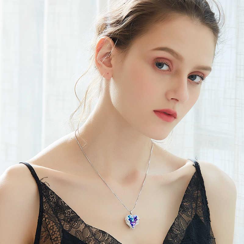 Centrum rozwoju przedsiębiorczości moda Angel Wings wisiorek w kształcie serca naszyjnik z ametyst kryształ dla kobiet w porządku biżuteria walentynki prezenty