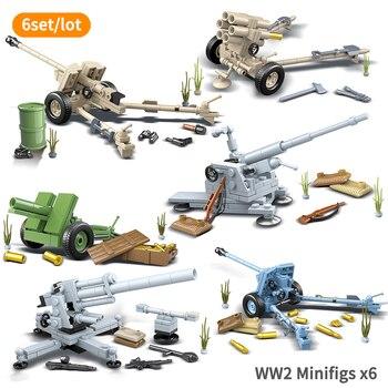 World War II FlaK 18 2cm Flak30 Flakvierling Antitank Gun Model With 6 Minifigs Kids Machine Guns WW2 Building Blocks Boy Toys