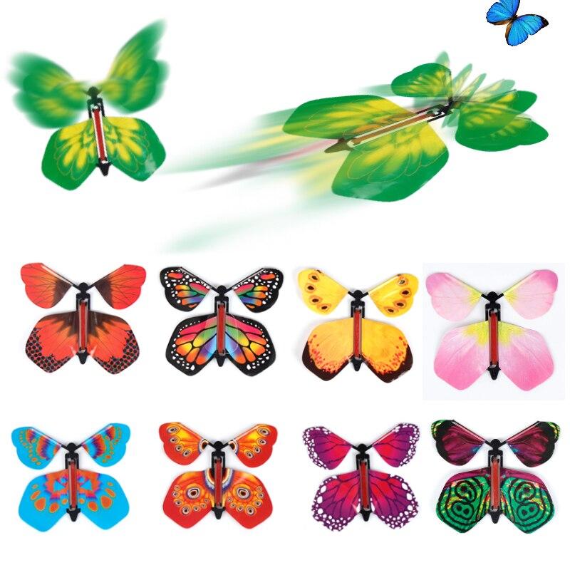 9 pces festa mágica truque brinquedo fada voando no livro borboleta borracha banda alimentado vento acima borboleta brinquedo surpresa presente para crianças