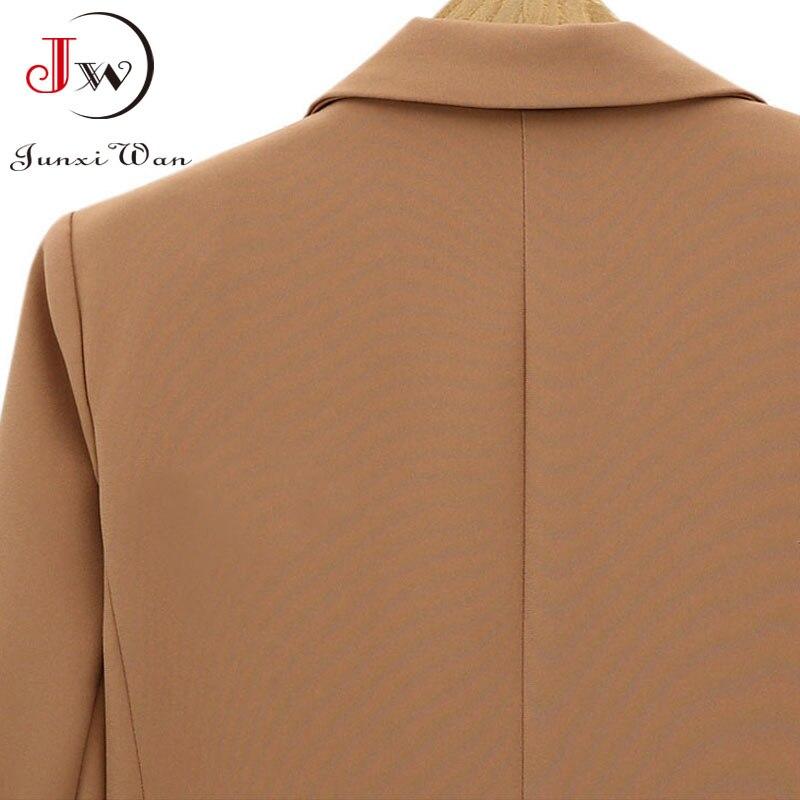 Women Blazer 2021 Solid Casual Double Breasted Office Wear Coat Jacket Long Sleeve Notched Collar Pockets Elegant Suit Outwear 6