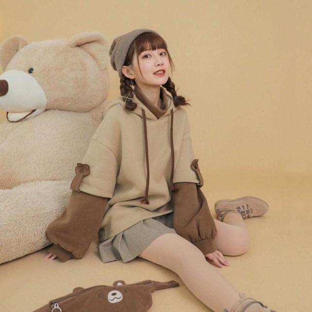 harajuku aesthetic bear anime hoodie women korean kawaii crewneck long sleeve oversized fall winter clothes kpop streetwear tops 5