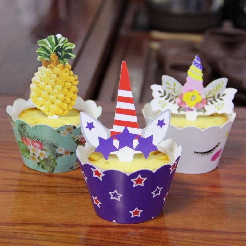 12pcs Pack Glitter Unicorn Cupcake Picks Cake Topper Birthday Party Decor