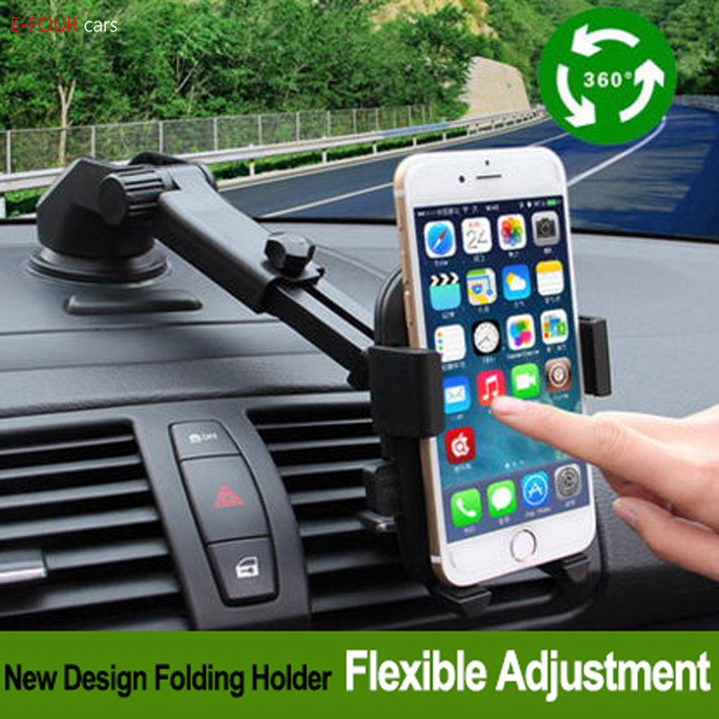 Phone Holder For Car Dashboard | E FOUR Car Phone Mount Dashboard Cell Phone Holder For Car Washable Strong Sticky Suction Pad One Button Release Compatible Cars