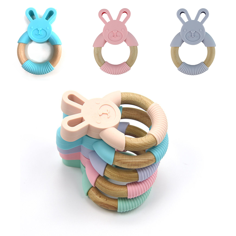 Animal Silicone Teether Wooden Ring 1Pcs BPA Free Nursing Accessories Chewable Rattle Circle Newborn Shower Gifts Baby Teethers