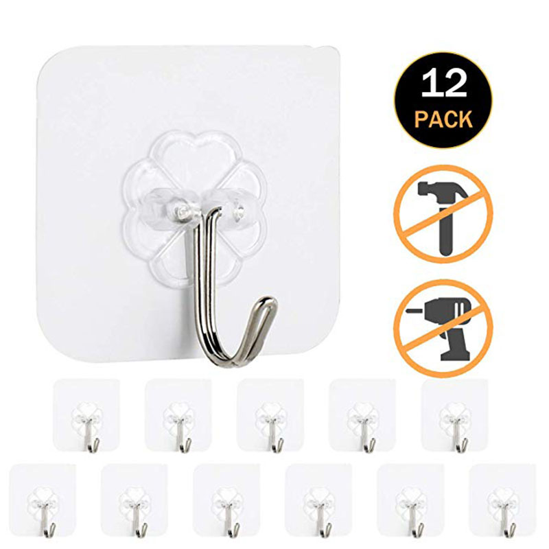12pcs/ Set Transparent Hook Strong Seamless Stickers Wall Hook Kitchen Accessories Storage Rack Waterproof Hanger Free Punching
