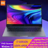 Xiaomi-ordenador portátil de 15,6 pulgadas Pro, actualización Mi Notebook i7-10510U MX350, 16GB, DDR4, 1TB, PCle SSD, 100% sRGB, ultrafino, FHD