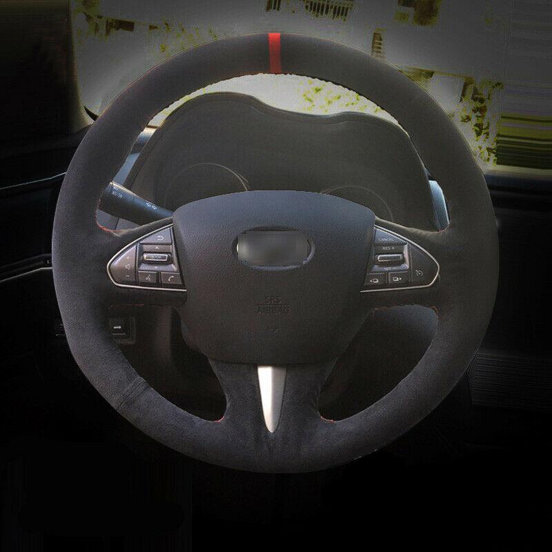 For Infiniti Q50 QX50 60 car steering wheel cover black leather Black stitch