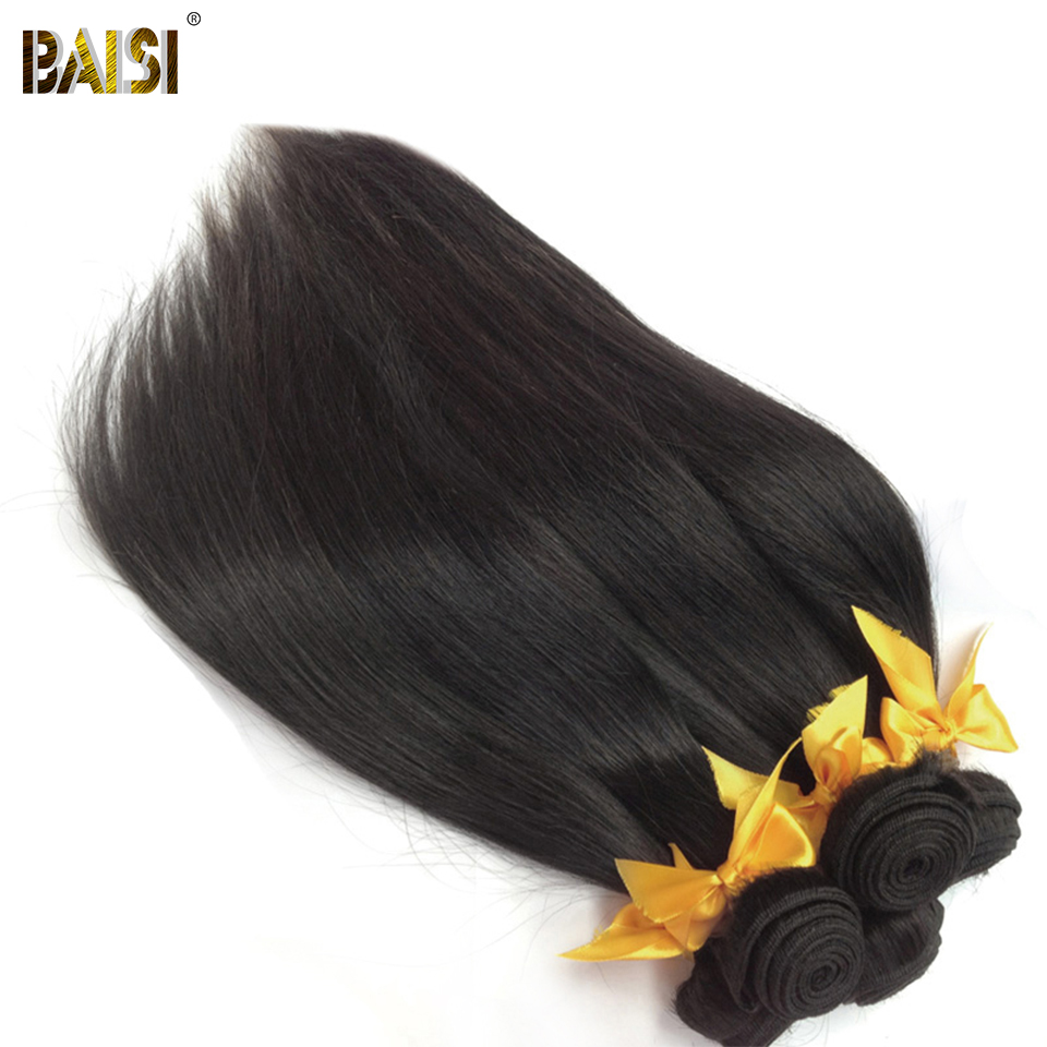BAISI Weave Hair Straight Hair-Unprocessed 3-Bundles 100%Human-Hair Peruvian 10A Raw title=