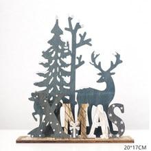 Natal elk madeira artesanato árvore de natal ornamentaldecoração de natal para casa pingente de madeira