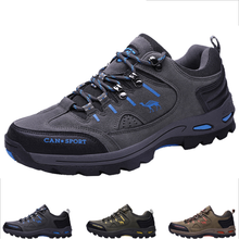Outdoor Sneakers Hiking-Shoes Sports-Boots Breathable First-Layer Cowhide Big-Size Men