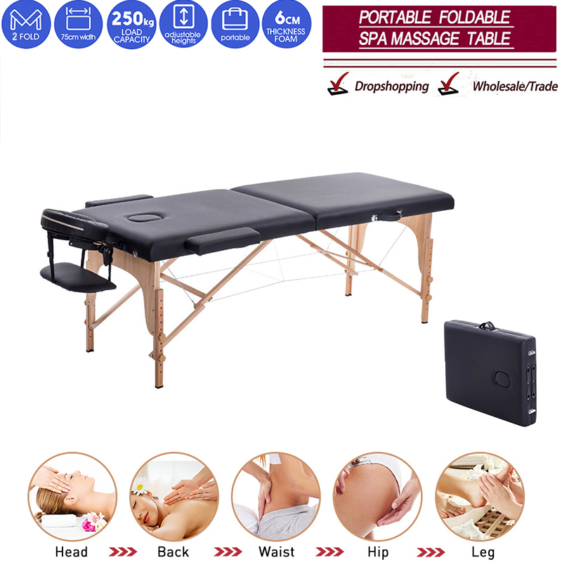 Folding Beauty Bed 180cm length 60cm width Professional Portable Spa Massage Tables Foldable with Bag Salon Furniture Wooden 1