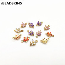 Earrings-Accessories Flower-Connectors Jewelry-Making Copper New-Arrival with Cubic-Zirconia