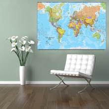 90*60cm The World Political Map Eco-friendly Canvas Painting Wall Art Poster Living Room Home Decoration School Supplies