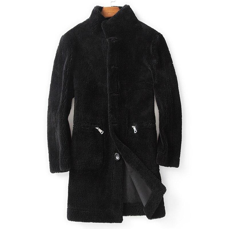 Real Fur Coat Winter Jacket Men Sheep Shearling Fur Coats Double-side Wear Long Coat Leather Jacket MC18C166 MY1262