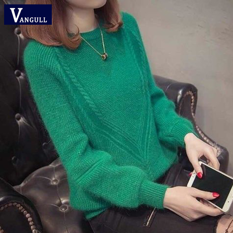 Vangull Women Knitted Sweater Spring Autumn New Elastic Solid Sweater Lady Knitted Long Sleeve O-neck Sweater Women Pullovers