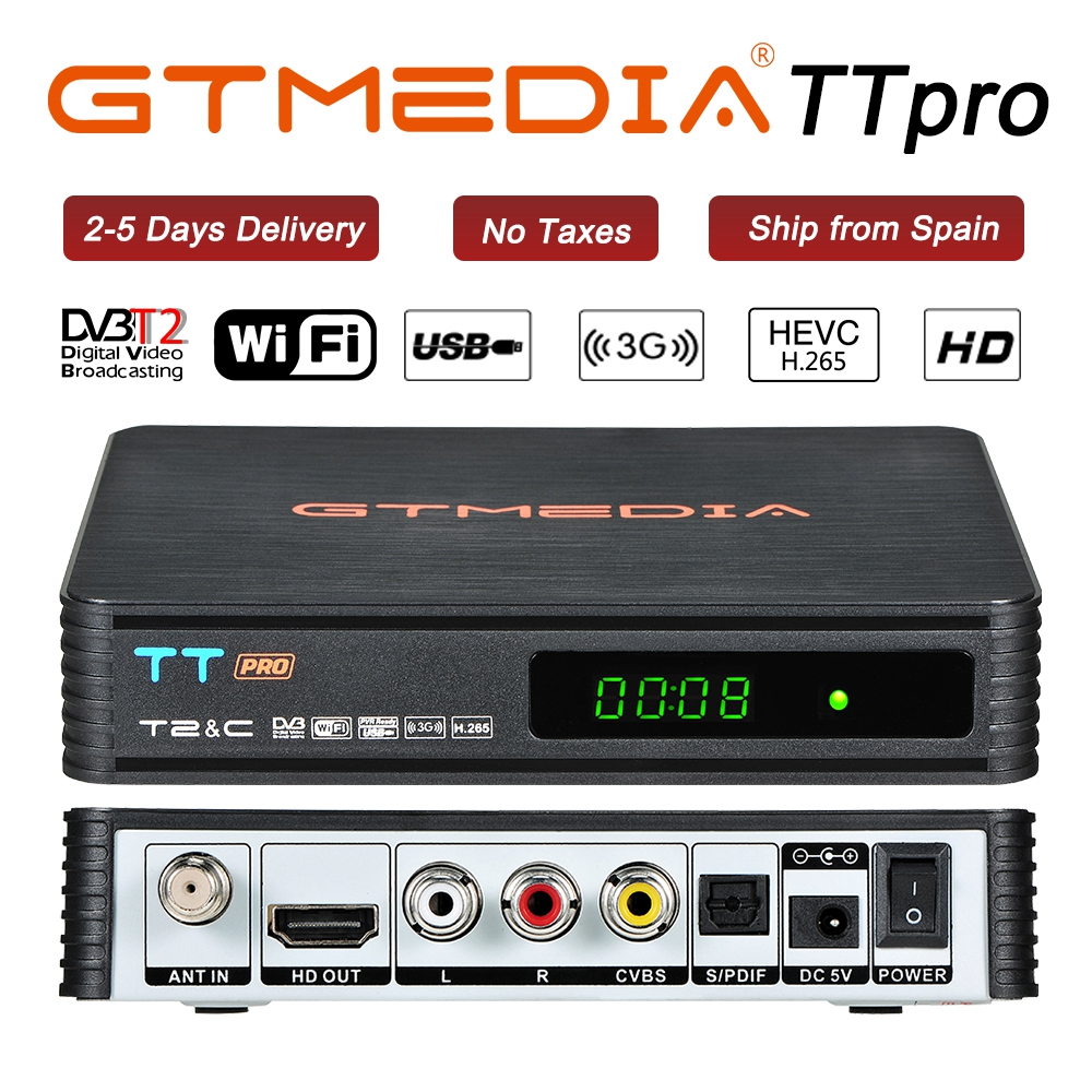 GTMEDIA TT Pro DVB-T2/T DVB-C TV Combo Receiver Support H.265 HD 1080P + 1 Year CCCAM For Spain Poland Germany Russian DVBT2 Box