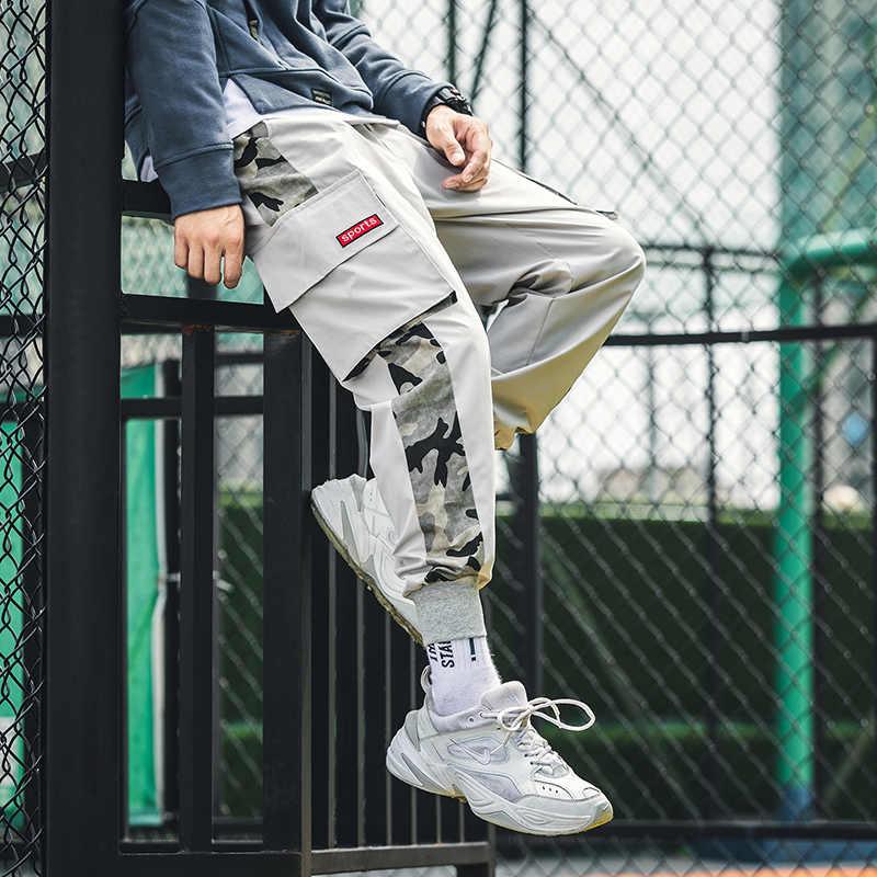 Модные брюки-карго мужские уличные штаны для бега черные спортивные брюки мужские хип-хоп Осенние карманы брюки комбинезоны