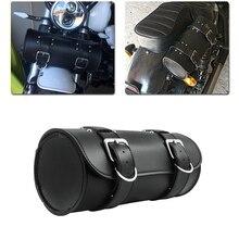 Saddle Bag Leather For Harley Chopper Bobber Cruiser Dyna Softail Sportster PU Front/Rear Tool Saddlebag Luggage Toolbag Case