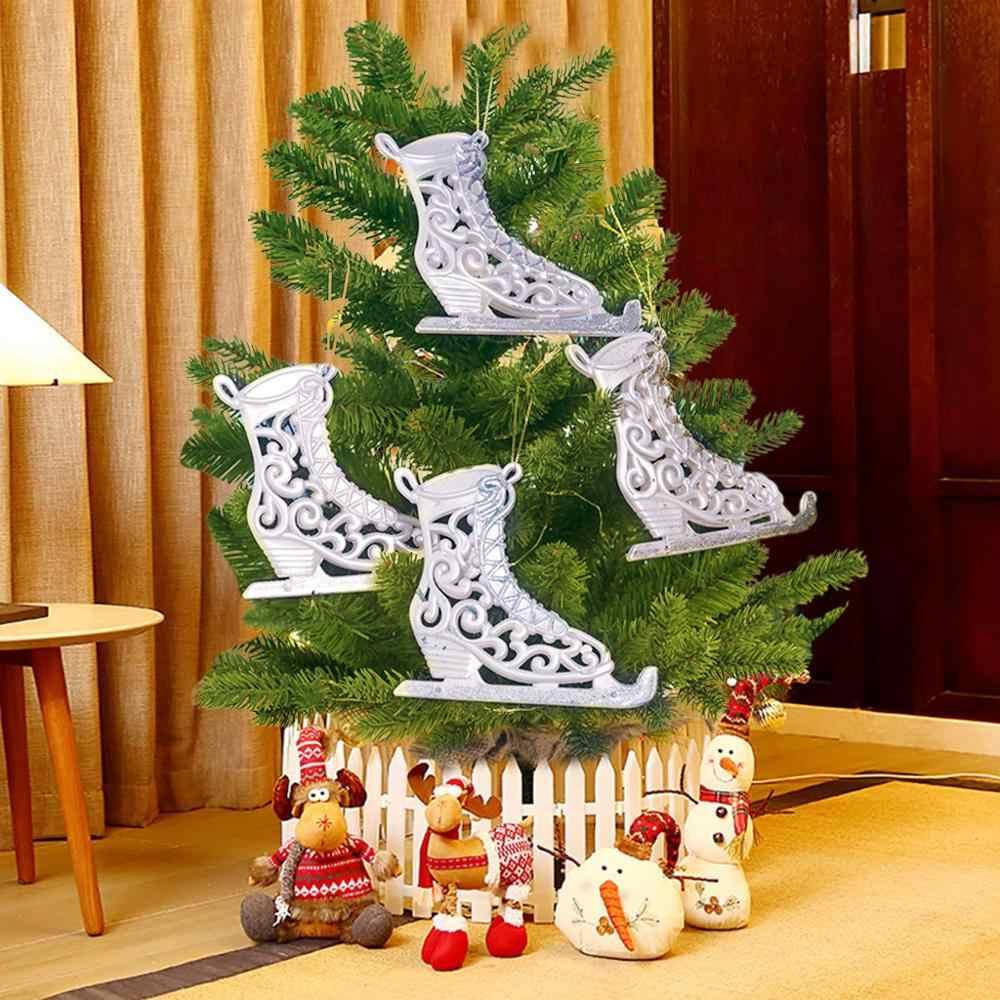 4PCS Christmas Tree อะคริลิค Dusting สเก็ตรองเท้าสกีจี้คริสต์มาสทาสีตกแต่งเครื่องประดับจี้ Xmas Decor A40