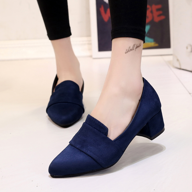SLHJC Women Med Heels Shoes Square Heel Pointy Toe Leather Pumps Office Lady Autumn Casual Slip On Work Daily Pumps Heels
