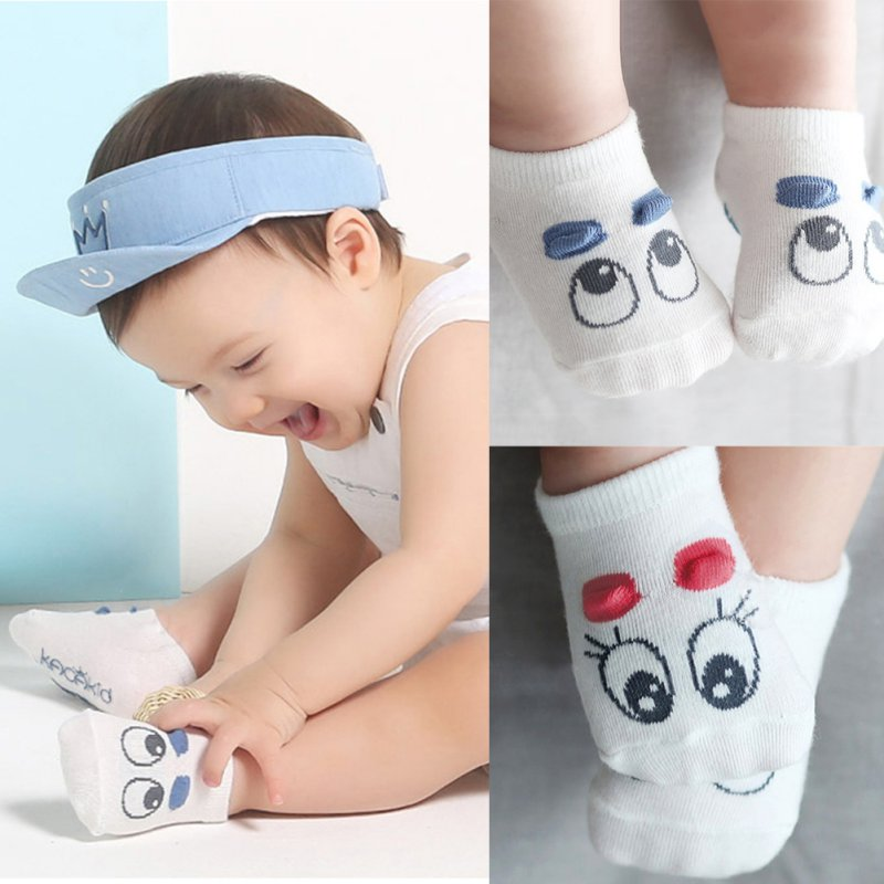 1 Pair Newborn Socks Baby Boy Kid Girls Infant Cute Eye Crib Warm Shoes Sox 0-3T Bebe