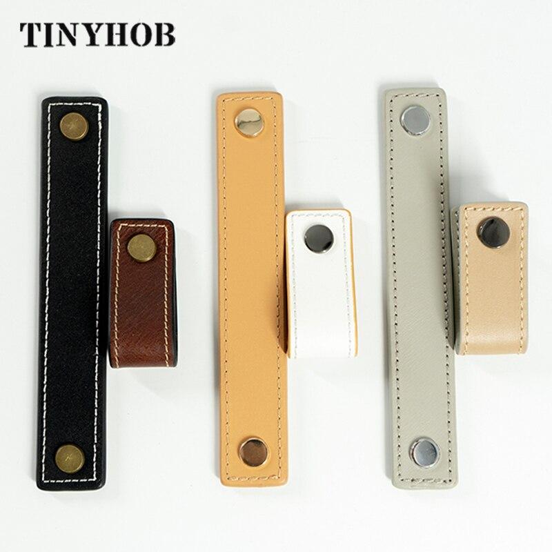 Ручки и ручки из мягкой кожи для мебели, двухсторонний латунный шкафчик с винтами, 3 цвета, сделай сам|Ручки шкафа|   | АлиЭкспресс - По чемоданам