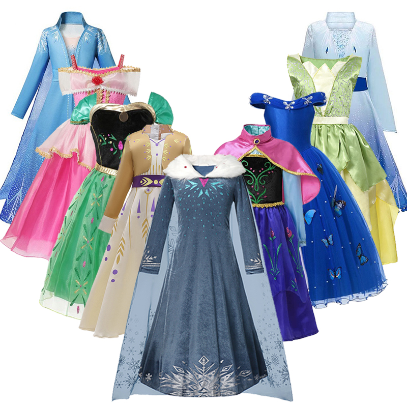 Anna Dress Girls Elsa 2 Cosplay Costume For Kids Aurora Cinderella Princess Dresses Mermaid Tiana Halloween Party Fancy Vestido